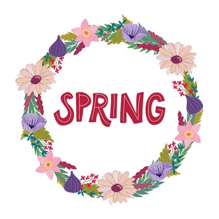 hand drawn spring doodles wreath with letters in vector