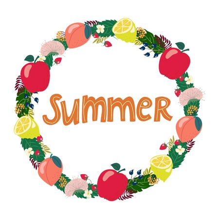 wreath of hand drawn summer drawings with letters in vector. Lettering, isolated elements, apple, peach, sunflower, leaves on a white background. Banco de Imagens - 134557806