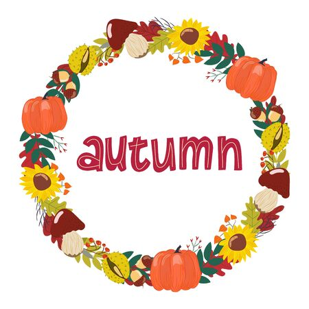 wreath of hand drawn autumn drawings with letters in vector. Lettering, isolated elements, pumpkin, mushrooms, sunflower, leaves on a white background.