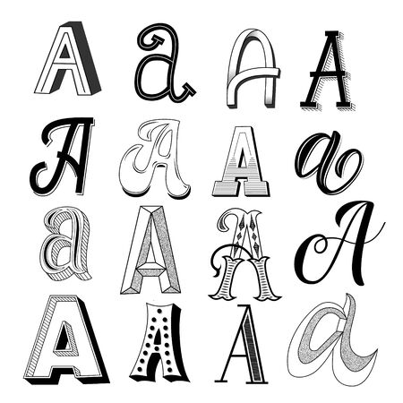 Hand drawn set of different writing styles for letter A Banco de Imagens - 137934353