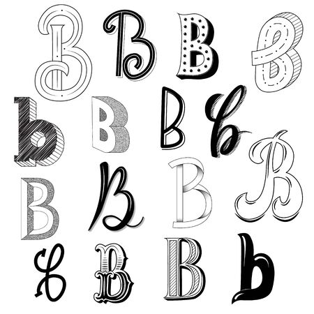 Hand drawn set of different writing styles for letter B
