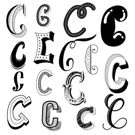 Hand drawn set of different writing styles for letter C