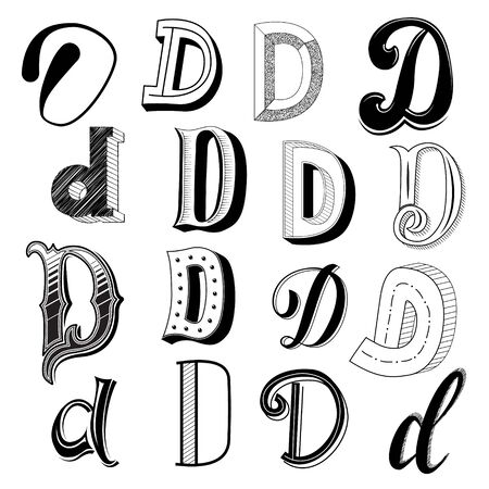 Hand drawn set of different writing styles for letter d