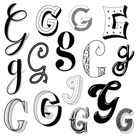 Hand drawn set of different writing styles for letter G