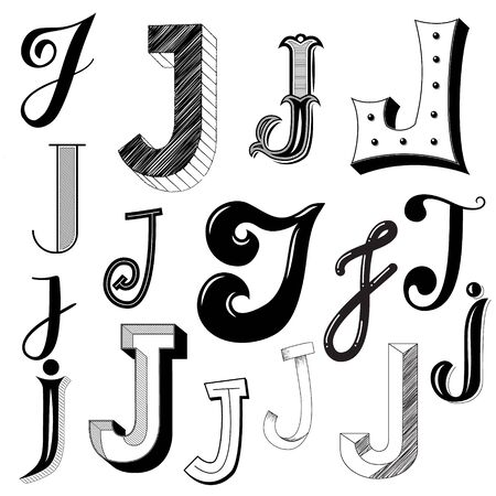 Hand drawn set of different writing styles for letter J