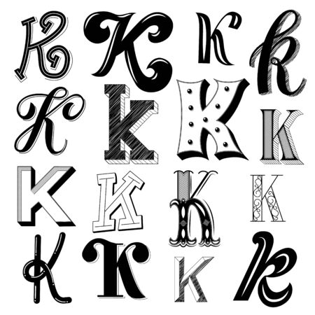 Hand drawn set of different writing styles for letter K