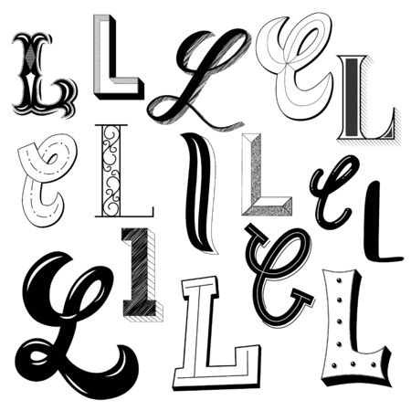 Hand drawn set of different writing styles for letter L