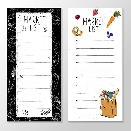 Set of templates for market list, grocery cart, vector illustration