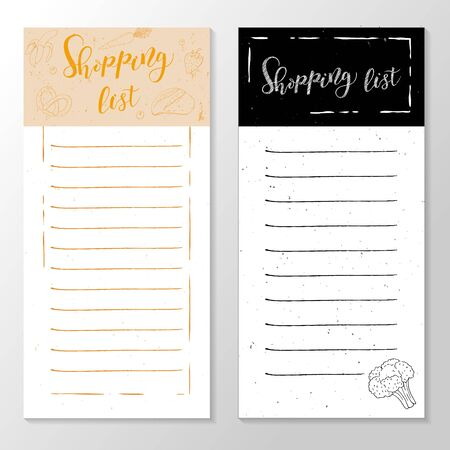 Template frame for shopping list, shopping cart with groceries, vector illustration