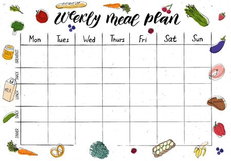 Cute A4 template for weekly and daily meal planner with lettering and doodle drawings of food. 向量圖像