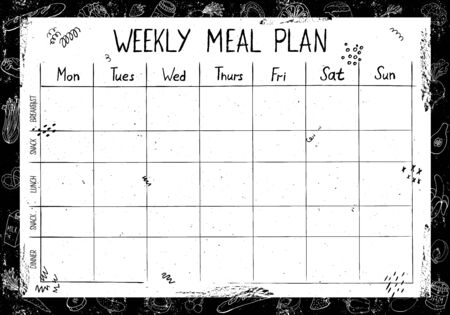 Cute A4 template for weekly and daily food planner with lettering and doodle drawings of food, on black background with chalk board effect and scuffs.