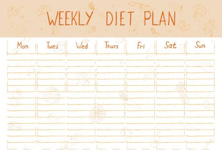 Cute A4 template for weekly and daily diet plan with lettering and doodle drawings of food.