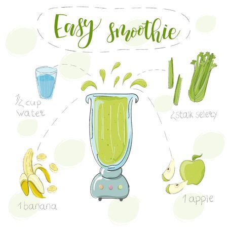 Ilustración de la receta de batido de plátano, apio y manzana en una licuadora. Vector