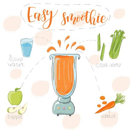 Illustration of smoothie recipe from carrot, celery and apple in a blender. Vector