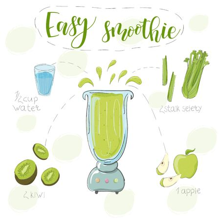 Illustration of smoothie recipe from kiwi, celery and apple in a blender. Vector