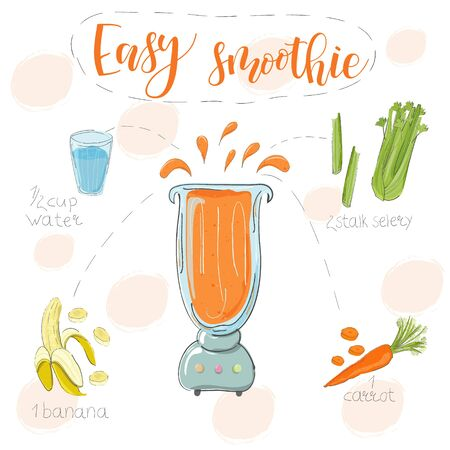 Illustration of smoothie recipe from banana celery and carrot in a blender. Vector