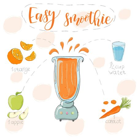 Illustration of smoothie recipe. Hand drawn orange carrot, apple. fluid in a blender. The name lightweight smoothie is modern calligraphy. Vector. White background