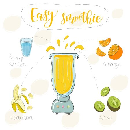 Illustration of smoothie recipe from kiwi, orange and banana in a blender. Vector