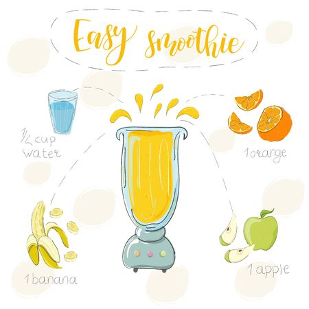 Illustration of smoothie recipe. Hand drawn orange banana, apple. fluid in a blender. The name lightweight smoothie is modern calligraphy. Vector. White background Ilustração