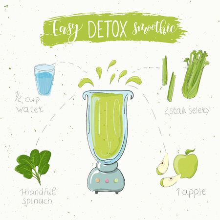 Illustration of detox smoothie recipe. Hand drawn selery apple and spinach. fluid in a blender. The name easy smoothie is modern calligraphy. Vector. White background
