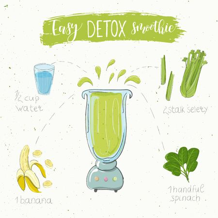 Illustration of detox smoothie recipe. Hand drawn selery banana and spinach. fluid in a blender. The name easy smoothie is modern calligraphy. Vector. White background Ilustração