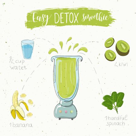 Illustration of detox smoothie recipe. Hand drawn kiwi banana and spinach. fluid in a blender. The name easy smoothie is modern calligraphy. Vector. White background