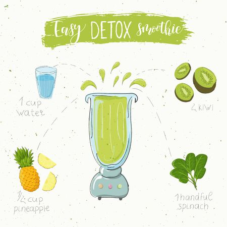 Illustration of detox smoothie recipe from spinach pineapple and kiwi in a blender. Vector