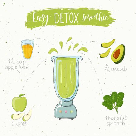 Illustration of detox smoothie recipe from spinach apple and avocado in a blender. Vector
