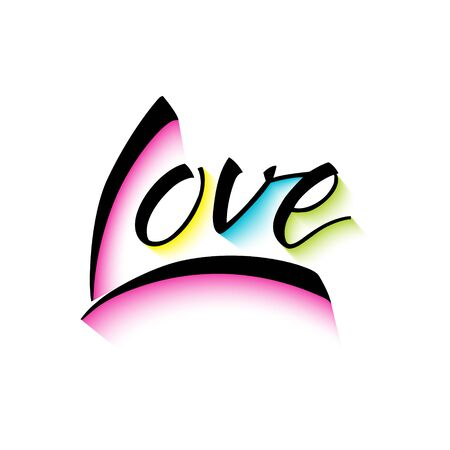 Love colorful vector lettering phrase. Calligraphy script. Hand drawn illustration. Banco de Imagens - 140186501