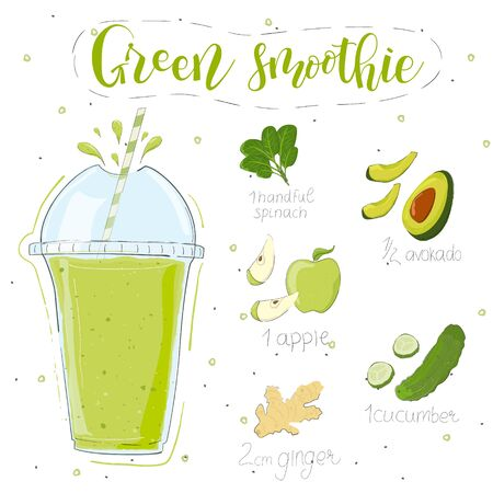 Green smoothie recipe. With illustration of ingredients. Hand draw spinach, avocado, apple, cucumber, ginger. Doodle style Иллюстрация