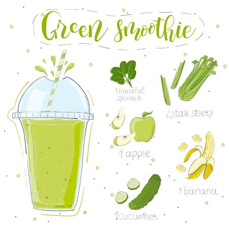 Green smoothie recipe. With illustration of ingredients. Doodle style