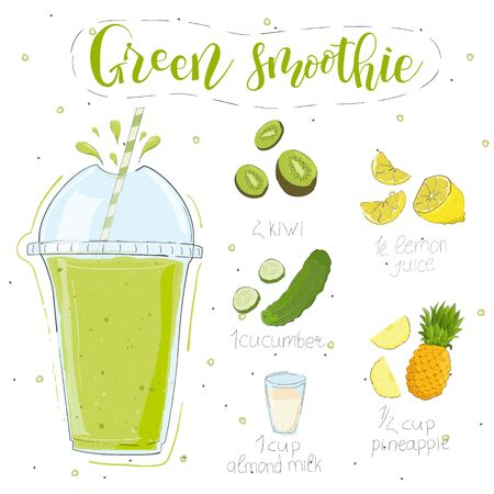 Green smoothie recipe. With illustration of ingredients. Hand draw kiwi, lemon, cucumber, pineapple and almond milk. Doodle style