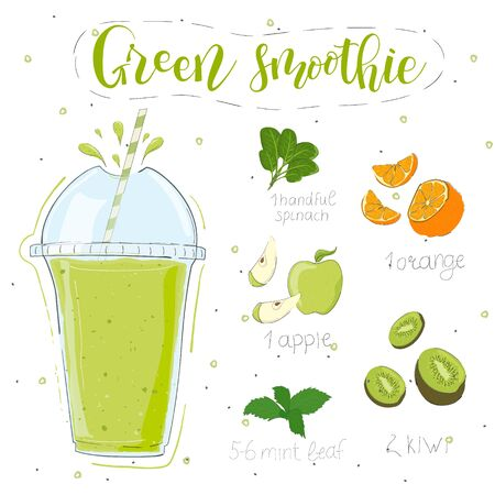 Green smoothie recipe. With illustration of ingredients. Hand draw spinach, orange, apple, kiwi, mint. Doodle style