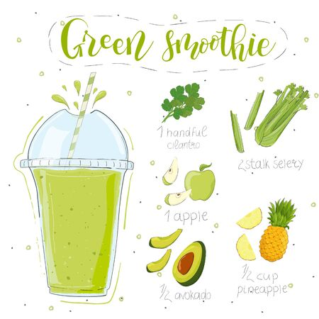 Green smoothie recipe. With illustration of ingredients. Hand draw cilantro, celery, apple, pineapple, avocado. Doodle style