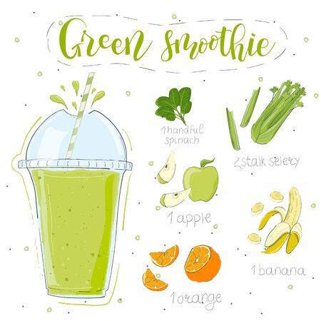Green smoothie recipe. Hand draw spinach, celery, apple, banana, orange. Fluid in a glass. Smoothie lettering of modern calligraphy. Vector. White background. Doodle style