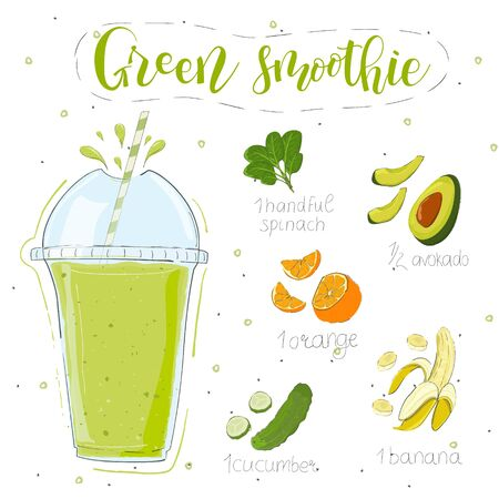 Green smoothie recipe. With illustration of ingredients. Hand draw spinach, avocado, orange, banana, cucumber. Doodle style