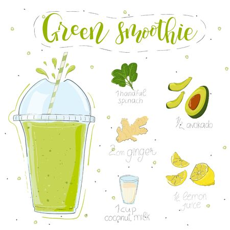 Green smoothie recipe. Hand draw spinach, avocado, ginger, lemon, coconut milk. Fluid in a glass. Smoothie lettering of modern calligraphy. Vector. White background. Doodle style Ilustração
