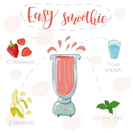 Easy smoothie recipe. With illustration of ingredients. Hand drawstrawberries, banana, mint. Doodle style Ilustração