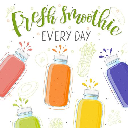 Fresh smoothie in different bottles. Every day. Superfoods and health or detox diet food concept in doodle style.