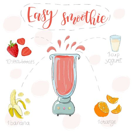 Easy smoothie recipe. With illustration of ingredients. Hand draw strawberries, banana, orange. Doodle style Ilustração
