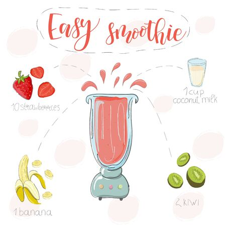 Easy smoothie recipe. With illustration of ingredients. Hand draw strawberries, banana, kiwi. Doodle style