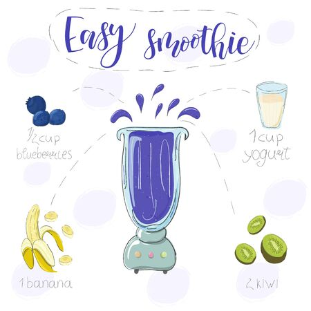 Easy smoothie recipe. With illustration of ingredients. Hand draw blueberries, banana, kiwi. Doodle style
