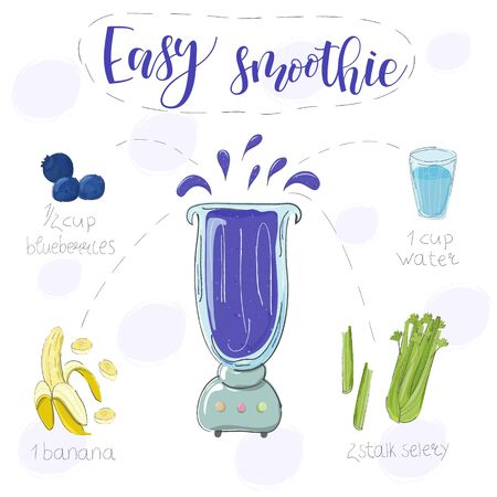 Easy smoothie recipe. With illustration of ingredients. Hand draw blueberries, banana, selery. Doodle style Ilustração