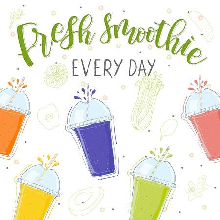 Fresh smoothie in different colors cups. Every day. Superfoods and health or detox diet food concept in doodle style. Modern calligraphy and handwritten lettering Banco de Imagens - 140705047