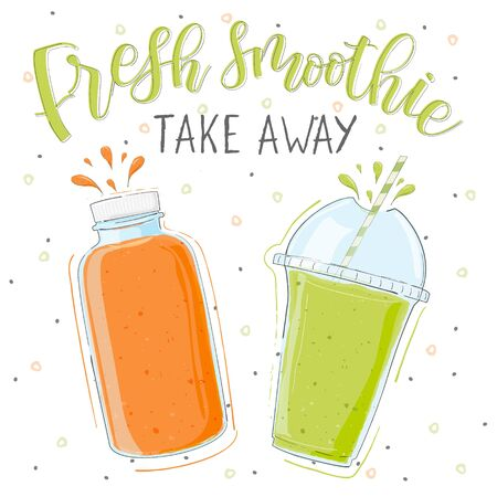 Fresh smoothie in different cups. Take away. Superfoods and health or detox diet food concept in doodle style.