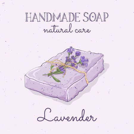 Handmade lavender soap. Vector hand drawn illustration. Isolated, with flowers lavander and lettering.