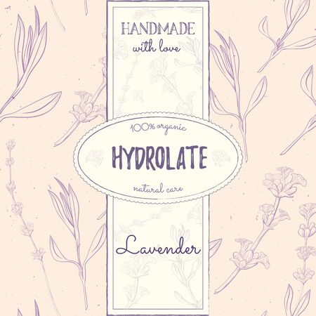 Hydrolate lavender. Natural cosmetics design with seamless pattern and label templates. Handmade cosmetics from lavender. Face care.