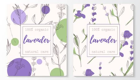Vector set of lavender natural cosmetic horizontal banners on a seamless pattern. Vector hand drawn illustration