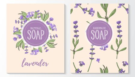 Background with handmade lavender soap. Seamless pattern. Organic cosmetic natural soap. Иллюстрация