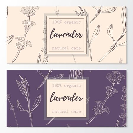 Vector set of lavender natural cosmetic horizontal banners on a seamless pattern.